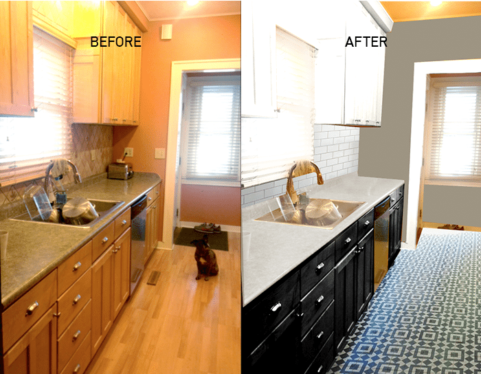 Before and after mockup of kitchen remodel