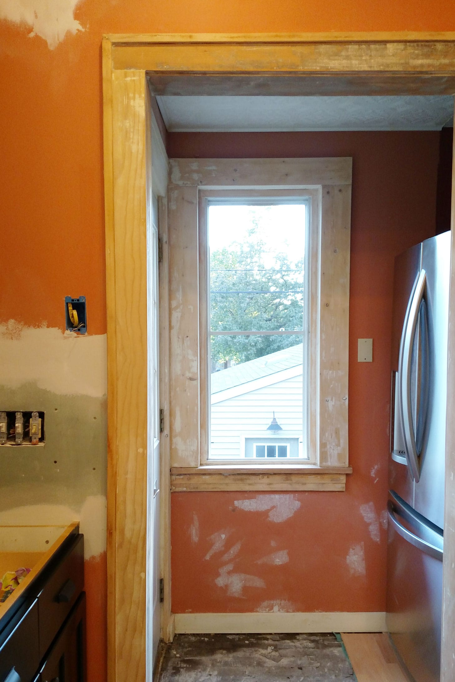 sanded doorway trim